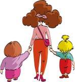 Mutter mit ihren Kindern Stockbild