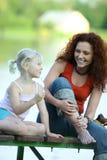 Mutter mit ihrer Tochter Stockfoto