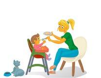 Mutter mit Kind und Katze stock abbildung