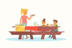 Mutter mit Kindern auf Picknickvektorillustration lizenzfreie abbildung