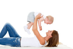 Mutter mit kleinem Baby. Lizenzfreies Stockbild