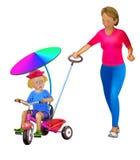 Mutter mit kleinem Kind auf Dreirad Stockfoto