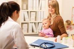 Mutter mit Schätzchenbesuchskinderarzt für Überprüfung Lizenzfreies Stockfoto