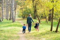 Mutter, Sohn und Tochter, die in den Park bei Sonnenuntergang gehen stockfotografie