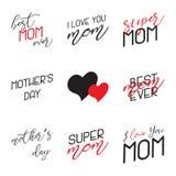 Mutter-Tag die kalligraphischen Embleme beschriftend eingestellt Lokalisiert auf schwarzer Vektorillustration Glücklicher Mutter- Lizenzfreie Stockfotografie
