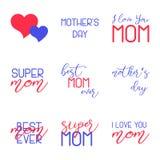 Mutter-Tag die kalligraphischen Embleme beschriftend eingestellt Lokalisiert auf schwarzer Vektorillustration Glücklicher Mutter- Stockbild