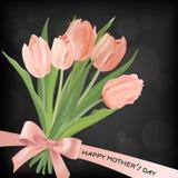 Mutter-Tagesfahnen-Schablone mit Tulpen-Blumen-Blumenstrau? Mutter-Tagesfeiertags-Blumengru?-Karte f?r Flieger, Brosch?re, Verkau vektor abbildung