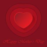Mutter-Tageskarte mit Herzen und Konturen Lizenzfreie Stockfotos