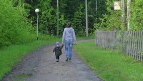 Mutter und Baby, die auf Landlandstraße im Kiefernwald, hintere Ansicht gehen stock footage