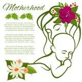 Mutter und Baby zeichnen Schattenbild und Blumen - Mutterschaftsplakatdesign stock abbildung