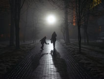 Mutter und ihr Kind steigen in den Nebel ein Lizenzfreie Stockfotos