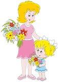 Mutter und ihre Tochter mit Blumen stock abbildung