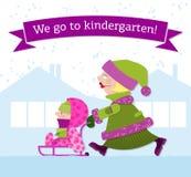 Mutter und Kind gehen zum Kindergarten Lizenzfreie Stockbilder
