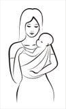Mutter und Kind im Riemen Stockbild