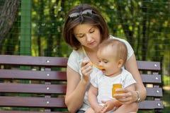 Mutter und Kind zusammen: junge Mutter, die ihr kleines Babykind mit Gem?sep?ree auf L?ffel im Park einzieht Gl?ckliche Muttersch lizenzfreie stockbilder