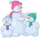 Mutter und Kinder Snowmens Stockbild