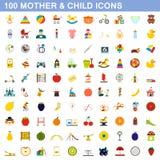 100 Mutter- und Kinderikonen stellten, flache Art ein stock abbildung