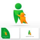 Mutter- und Kinderlogoikone entwerfen Schablonenelemente - Illustration Lizenzfreie Stockfotografie