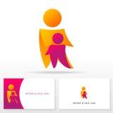 Mutter- und Kinderlogoikone entwerfen Schablonenelemente - Illustration Stockfotografie