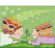 Mutter und kleines Mädchen in der Natur. Lizenzfreies Stockfoto
