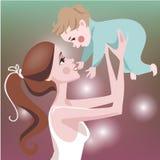 Mutter und Kleinkind vector Postkarte während des Muttertags Lizenzfreie Stockfotos