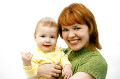 Mutter und Schätzchen auf Weiß Stockbild