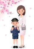 Mutter und Sohn auf cherryblossom Hintergrund Stockbilder