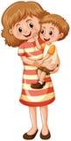 Mutter und Sohn auf weißem Hintergrund Stockbild