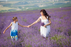 Mutter und Sohn, die der purpurrote Lavendel auffangen lizenzfreie stockfotografie