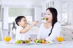 Grünen Salat zu Hause essen stockbild