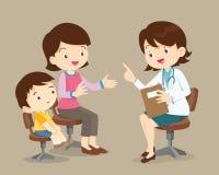 Mutter und Sohn sehen Ärztin stock abbildung