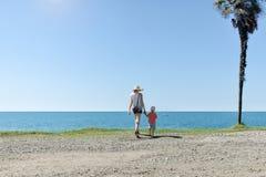 Mutter und Sohn stehen mit ihren Rückseiten vor dem hintergrund einer hohen Palme, eines Meeres und eines blauen Himmels stockbild