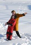Mutter- und Sohnspielen glücklich Stockbild
