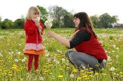Mutter und Tochter auf einer Wiese Lizenzfreies Stockbild