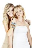 Mutter und Tochter auf weißem Hintergrund Stockbild