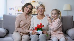 Mutter und Tochter, die in der Hand Großmutter mit Tulpen und Geschenk, Feiertag umarmen stock video