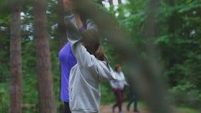 Mutter und Tochter, die Gymnastik im Wald tun stock video footage