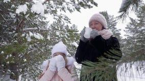 Mutter und Tochter, die heißen Tee von der Schale im Winterwald am eisigen Tag trinken stock video
