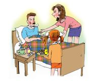 Mutter und Tochter, die um krankem Vater sich kümmern Lizenzfreie Stockfotos