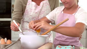 Mutter und Tochter, die zusammen Kuchen machen stock footage