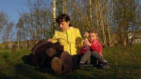 Mutter und Tochter essen das Mittagessen auf einem Picknick stock video