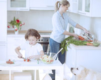 Mutter und Tochter (8-9) gesunde Mahlzeit in der Küche vorbereitend Lizenzfreies Stockbild