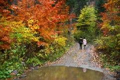 Mutter und Tochter im Herbstwald lizenzfreie stockfotografie