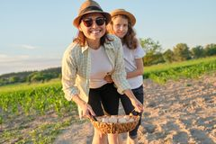 Mutter und Tochter mit einem Korb von frischen Eiern im Garten, goldene Stunde stockbild