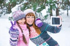 Mutter und Tochter werden in einem Winterwald fotografiert stockbilder
