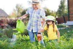 Mutter- und Tochterbewässerungsanlagen im Garten lizenzfreie stockfotos