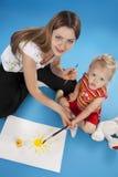 Mutter- und Tochterzeichnung Stockbilder