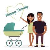 Mutter und Vater mit Kinderwagen Vector die Illustration, die auf weißem Hintergrund des neugeborenen Kindes der glücklichen Fami Stockfotografie