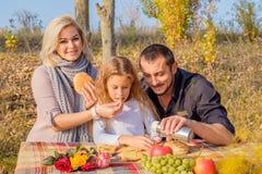 Mutter- und Vaterzufuhrtochter auf Picknick lizenzfreie stockbilder