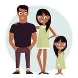 Mutter und Vati mit Tochter Vector die Illustration, die auf glücklicher Familie des weißen Hintergrundes lokalisiert wird Lizenzfreies Stockbild
